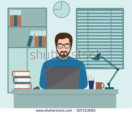 Man Freelancer Designer Hipster Working Coding Stock Vector ...
