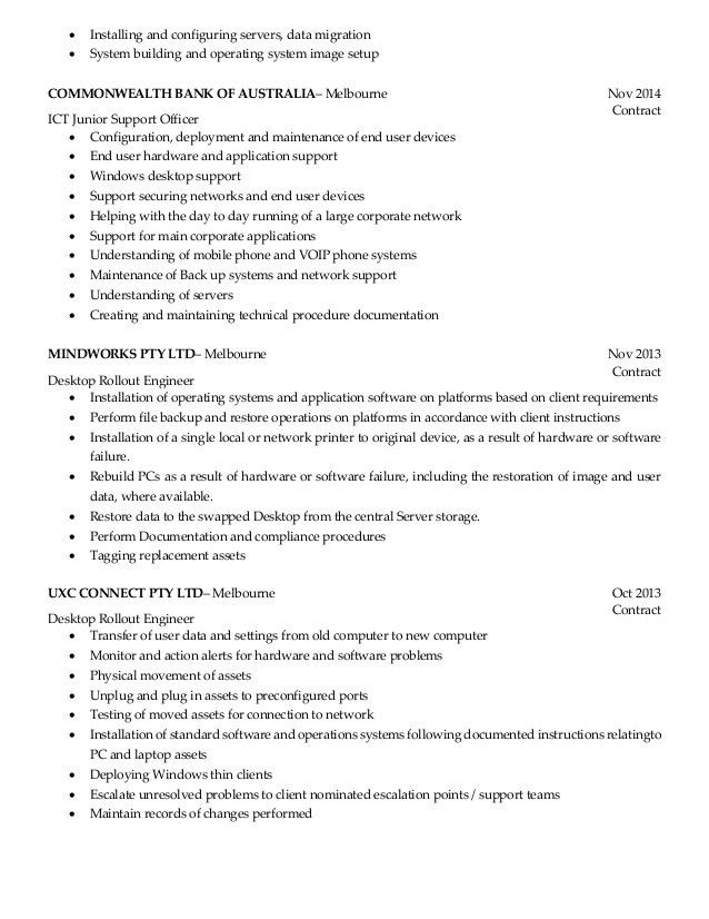 Resume - Desktop Support Engineer