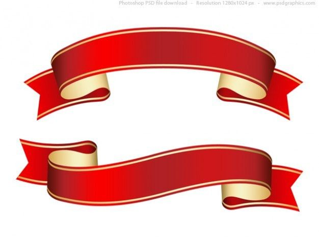 Curled red ribbon (banner), PSD template Free Psd | banners and ...