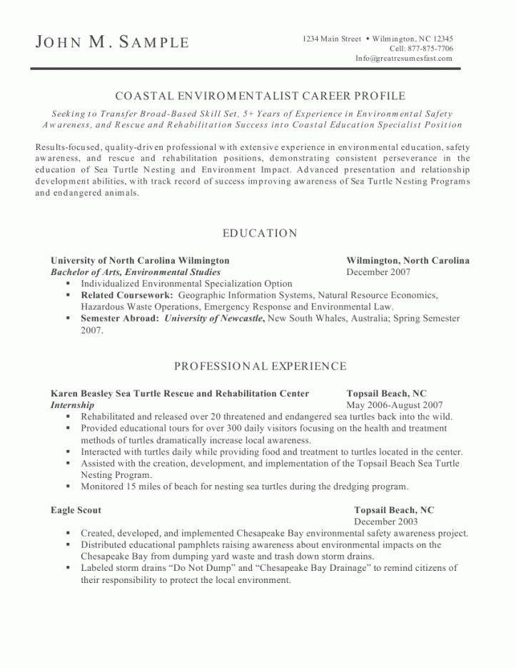 Sample resume natural resources