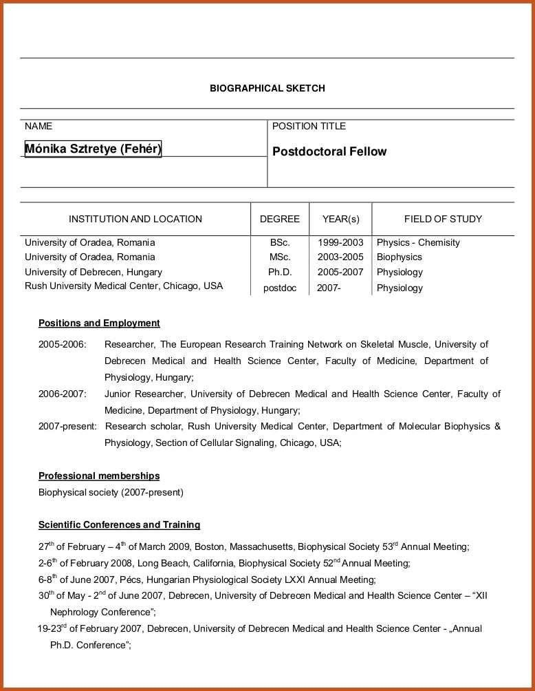 biographical sketch example | sop example