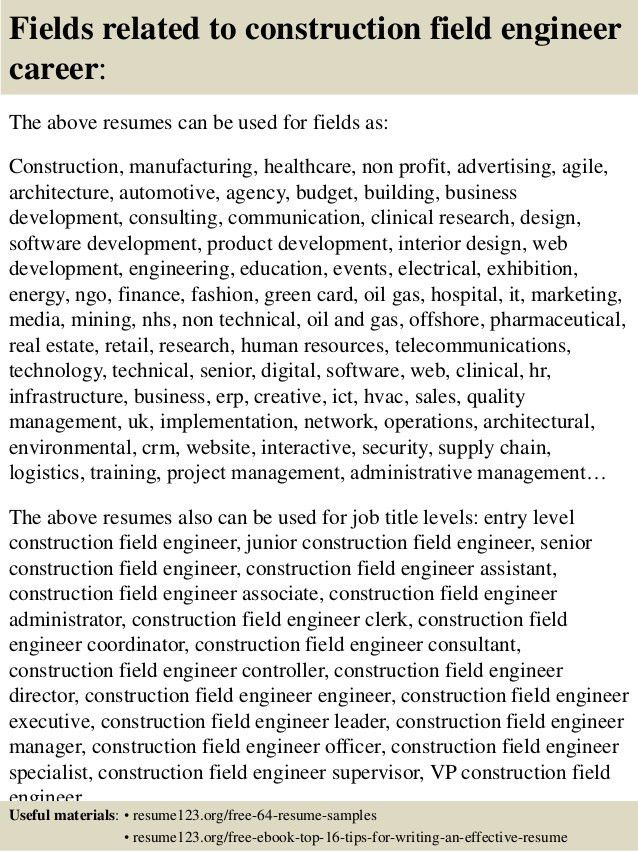 Top 8 construction field engineer resume samples