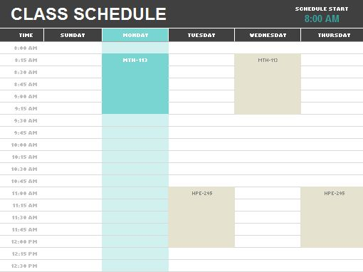 Student schedule - Office Templates