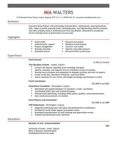 event planner resume cover letter event planner marketing resume ...