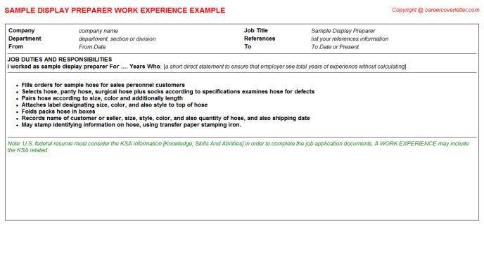 Sample Display Preparer CV Work Experience