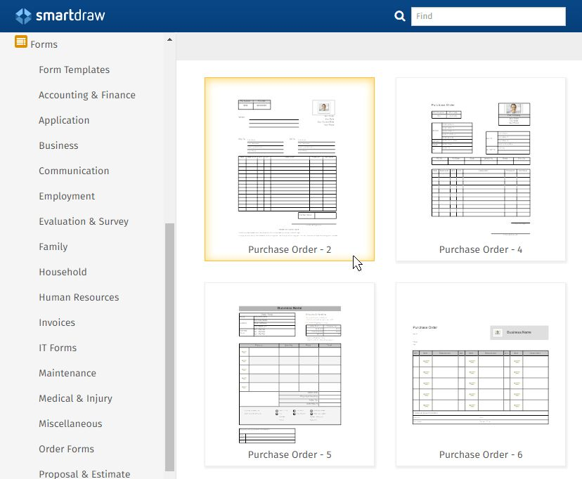 Purchase Order Form Software - Free Form Templates from SmartDraw