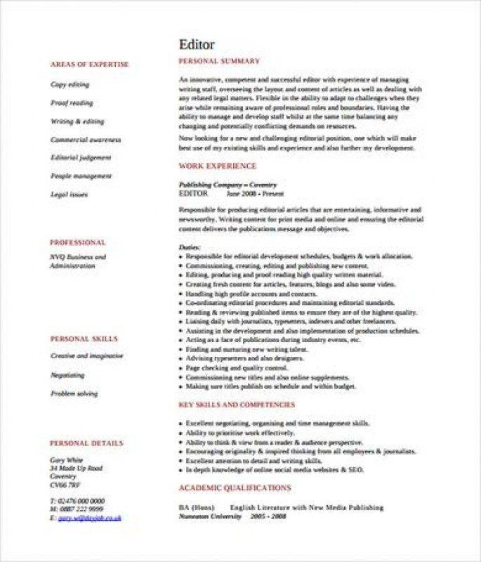 Editor Resume [Template.billybullock.us ]