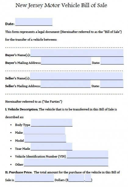 Free New Jersey Motor Vehicle (Car/Auto) Bill of Sale Form | PDF ...