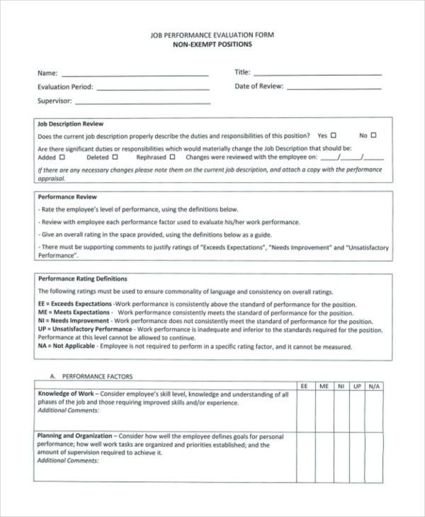 Sample Job Performance Evaluation Forms - 10+ Free Documents in ...