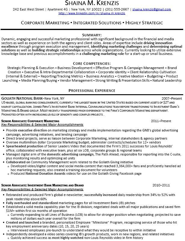 Example Investment Banking Resume. Investment Banking Resume .