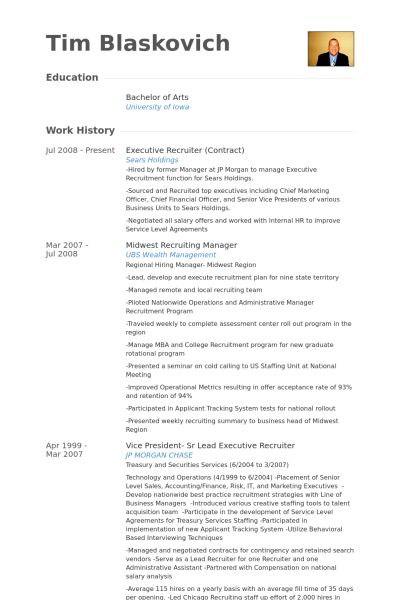 Executive Recruiter Resume samples - VisualCV resume samples database