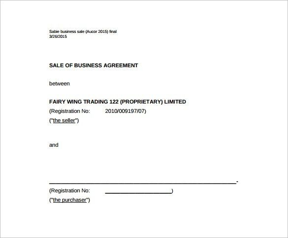 business sale agreement template free download - thebridgesummit.co