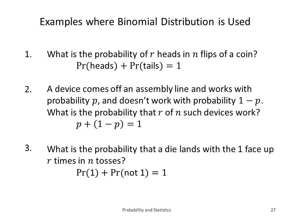Probability and Statistics1  Basic Probability  Binomial ...