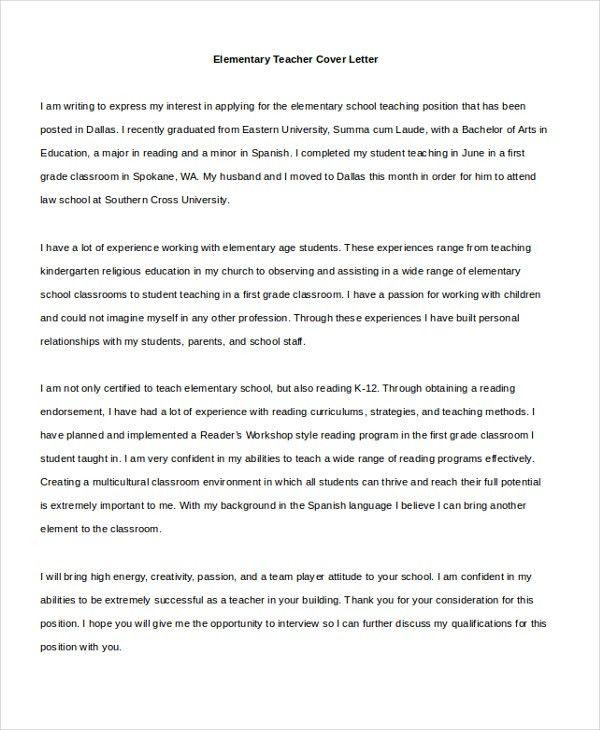 Sample Cover Letter For Elementary Teacher
