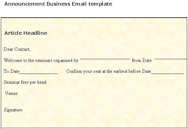Announcement Business Email Template | Sample Business Templates