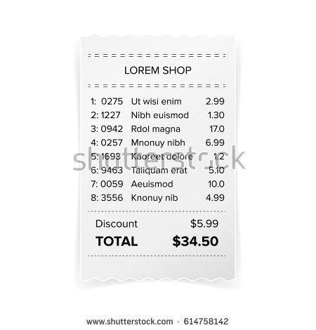 Cash Receipt Sales Check Bill Atm Stock Vector 637032829 ...