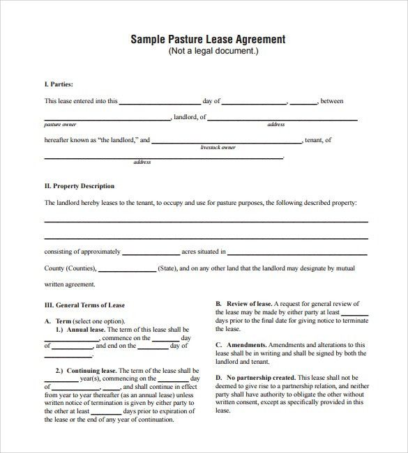 Sample Pasture Lease Agreement. Cattle Grazing Next To Fencing Key ...