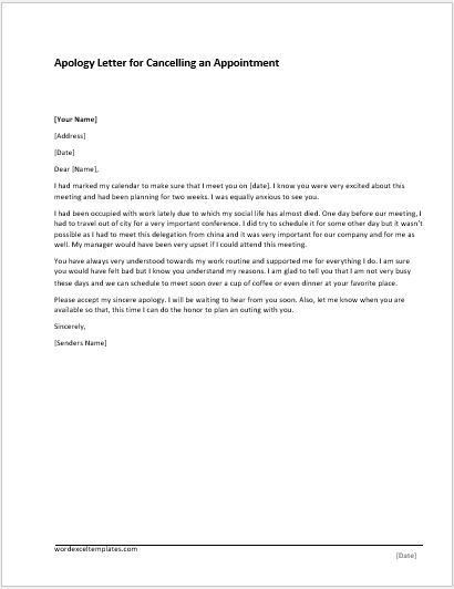Apology Letter Templates for WORD | Word & Excel Templates