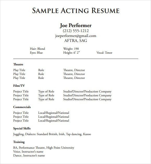 theatrical resume format child actor sample resume child actor