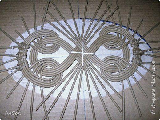 Ажурное плетение крышки из газет