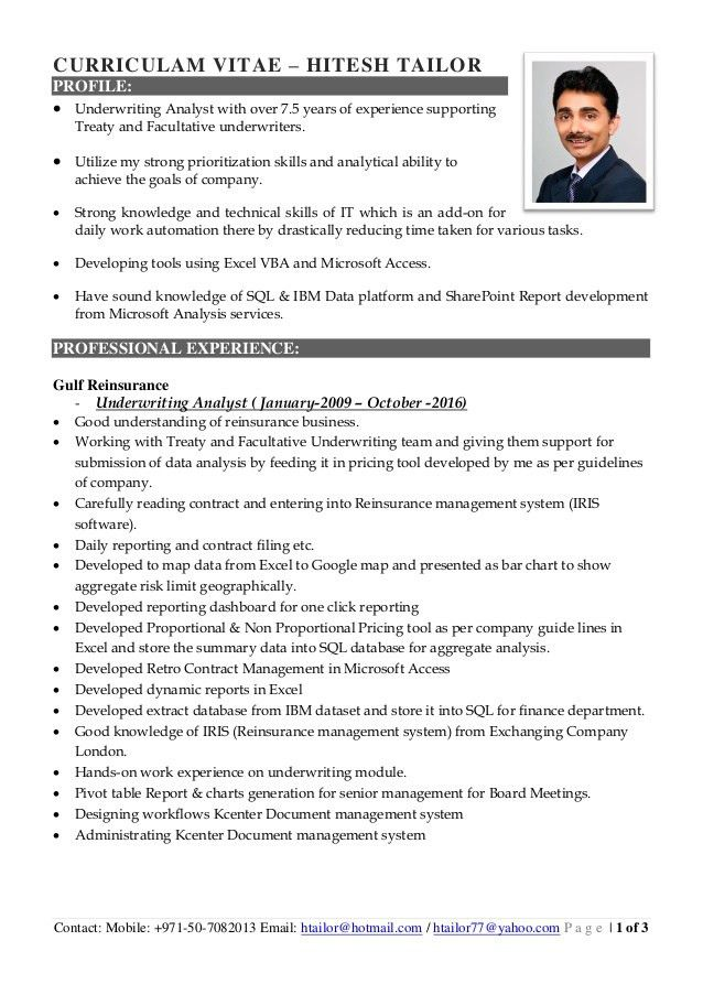 Hitesh Tailor CV 2016 - Underwriting Analyst