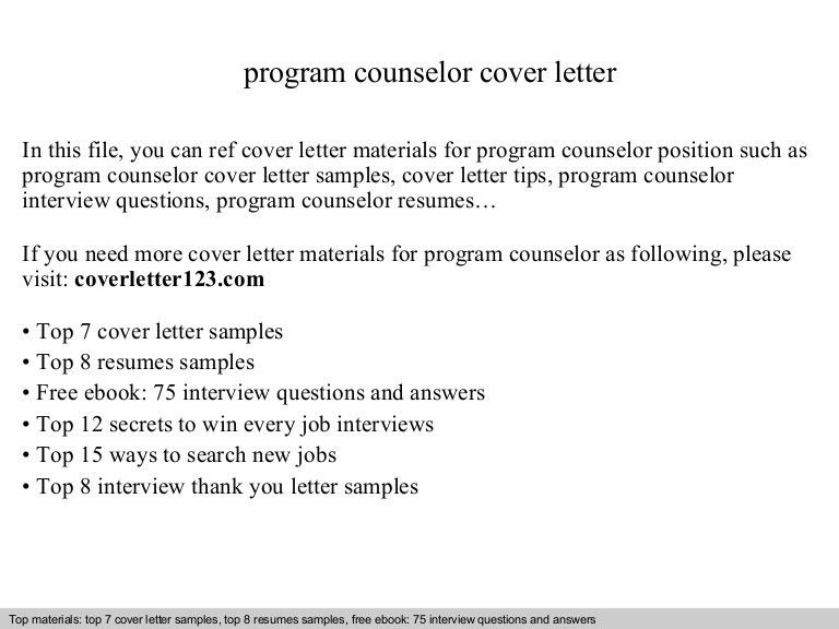 Guidance Counselor Resume. Program Counselor Cover Letter ...