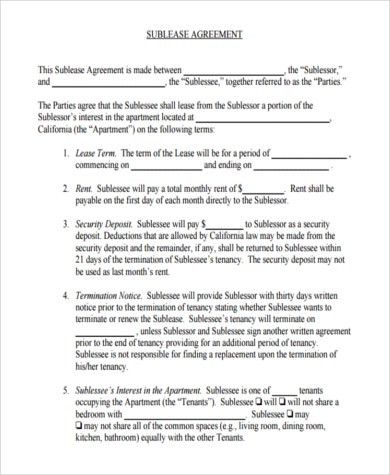 Sublease Contract Samples - 7+ Free Documents in Word, PDF