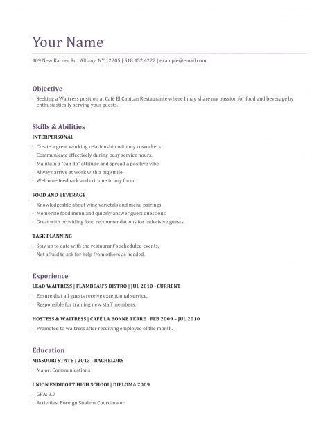 Sample Resume for Cocktail Waitress Job Position : XpertResumes.com