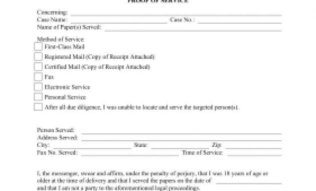 Printable Proof Of Service Legal Pleading Template in Proof Of ...
