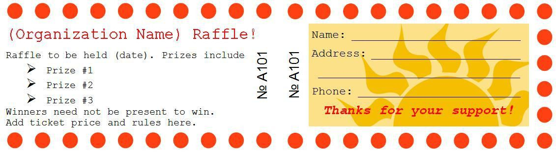 Sample Raffle Ticket Templates | Formal Word Templates