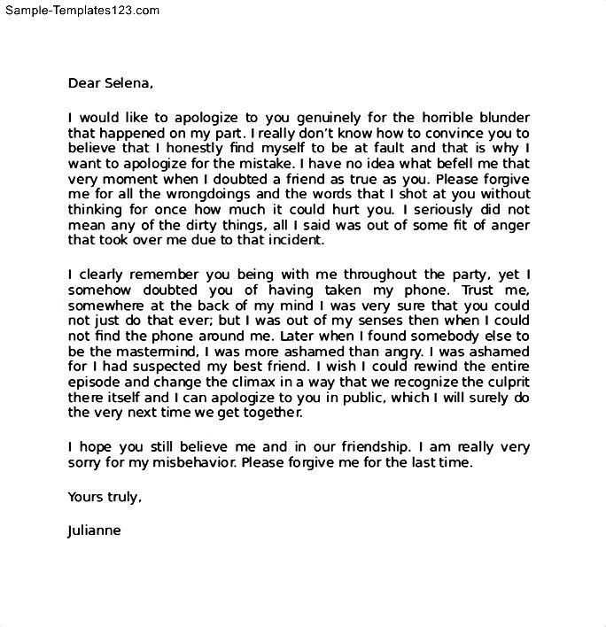 Apology Letter to Family | Template Sample