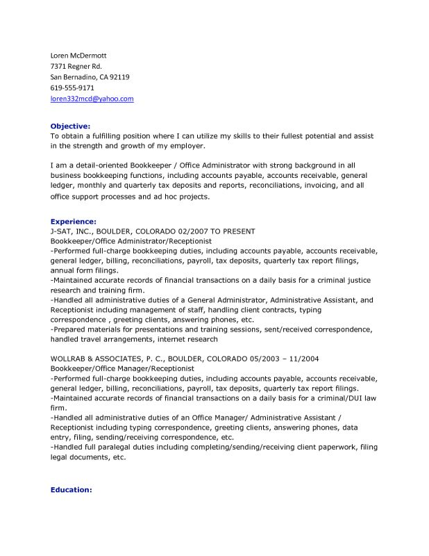 pin bookkeeper. bookkeeping resume example. bookkeeper resume 17 ...