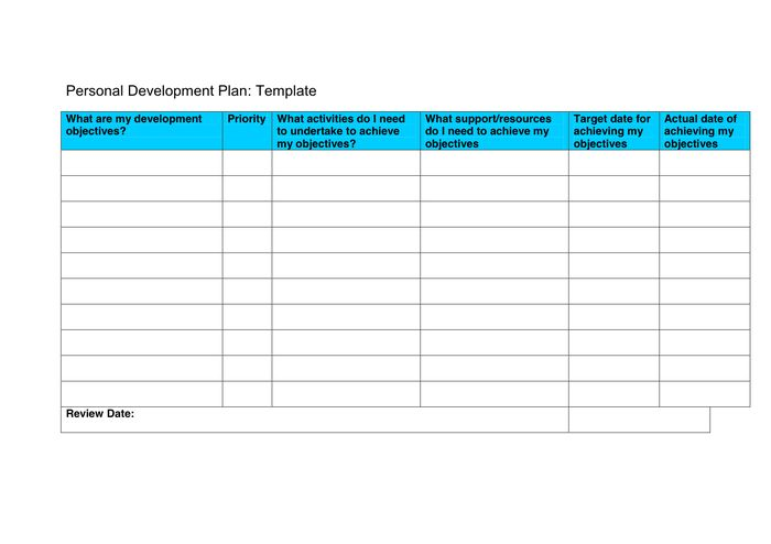 Personal development plan (PDP) template in Word and Pdf formats ...