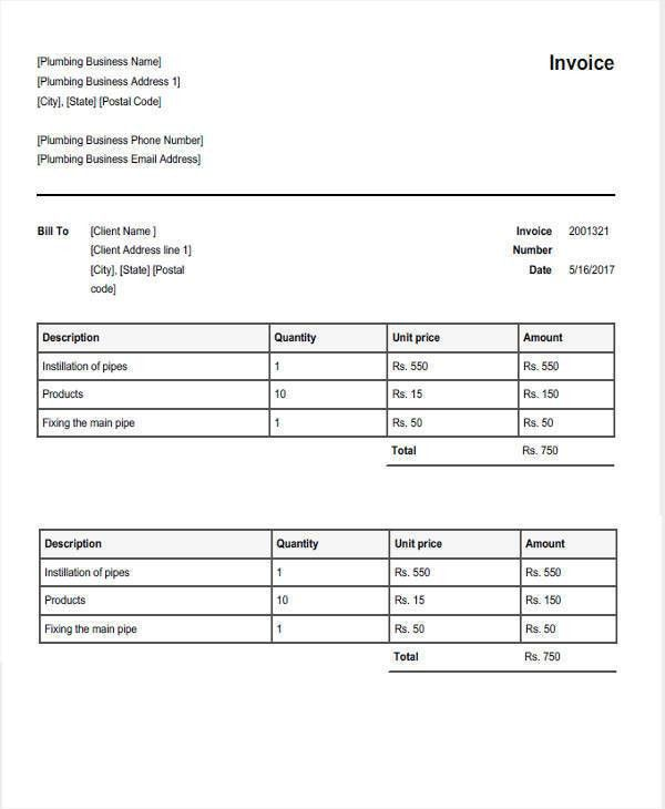 7+ Plumbing Invoice   Free Sample, Example, Format Download