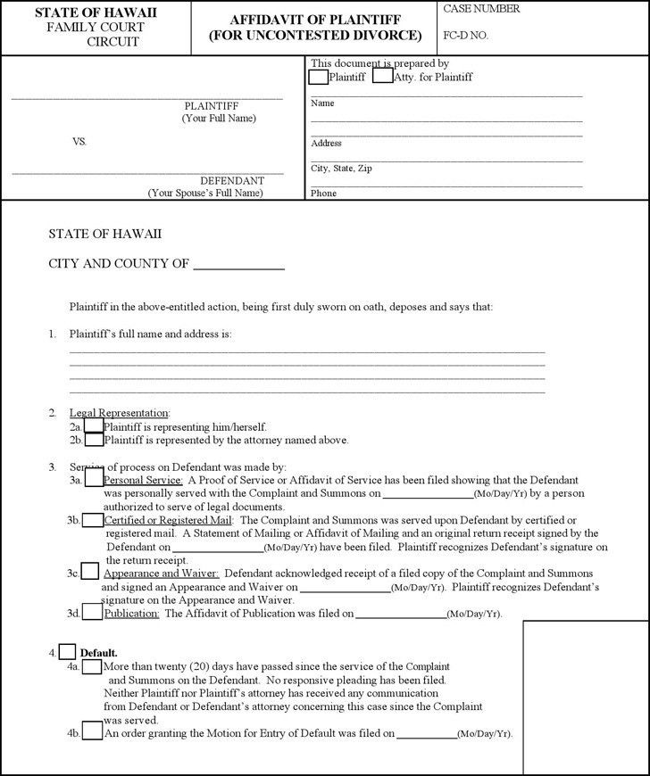 Divorce Affidavit Template - Contegri.com