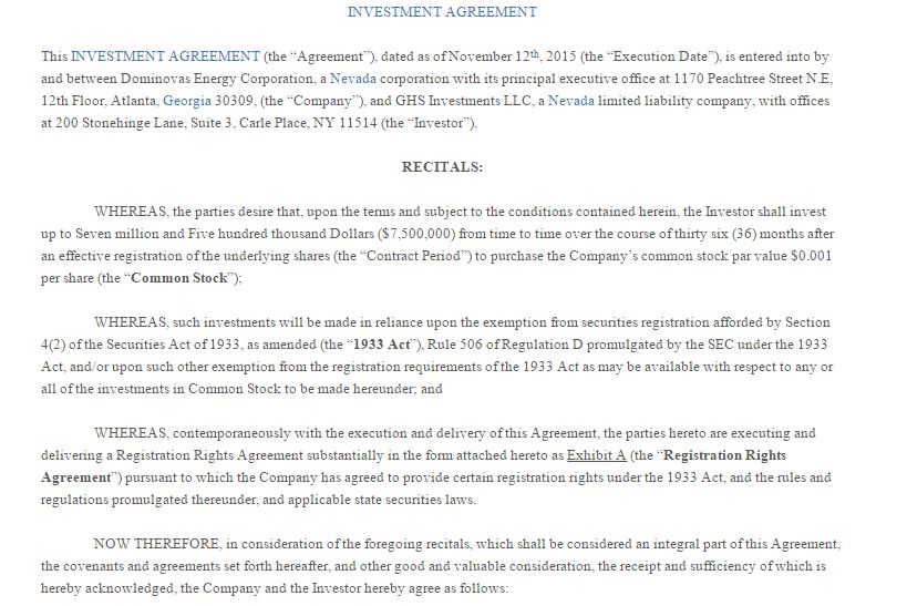 Doc.#575709: Investor Contract Sample – Investors Agreement ...
