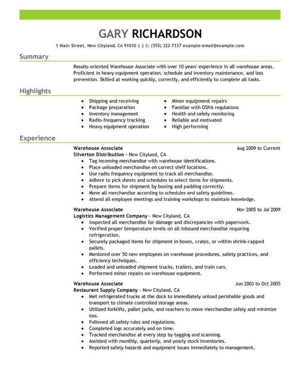 Warehouse Worker Sample Resume - uxhandy.com