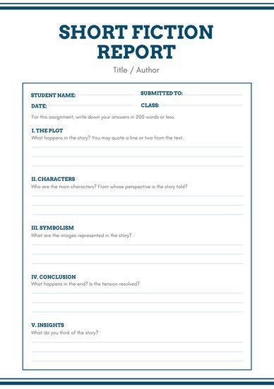 White Blue Simple Short Story Book Report - Templates by Canva