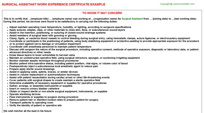 Surgical Assistant Work Experience Certificate