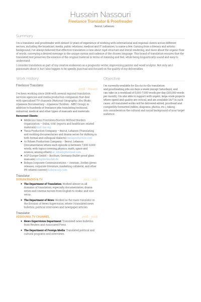 Freelance Translator Resume samples - VisualCV resume samples database