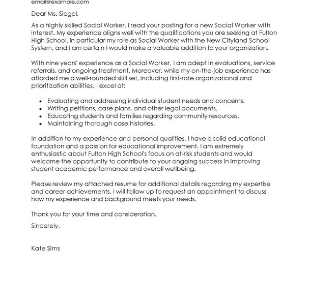 Strikingly Idea Social Worker Cover Letter 1 Best Examples - CV ...