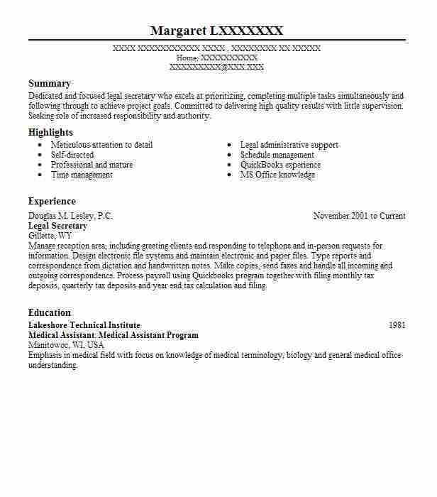 Best Legal Secretary Resume Example | LiveCareer