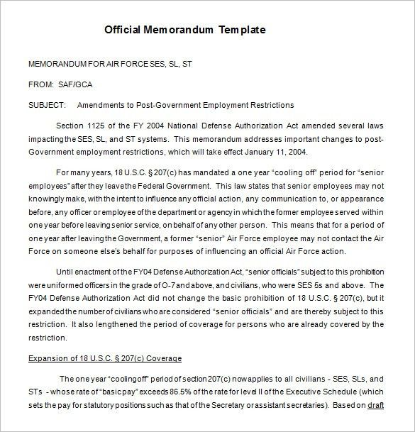 16+ Memorandum Templates – Free Word, PDF Documents Download ...