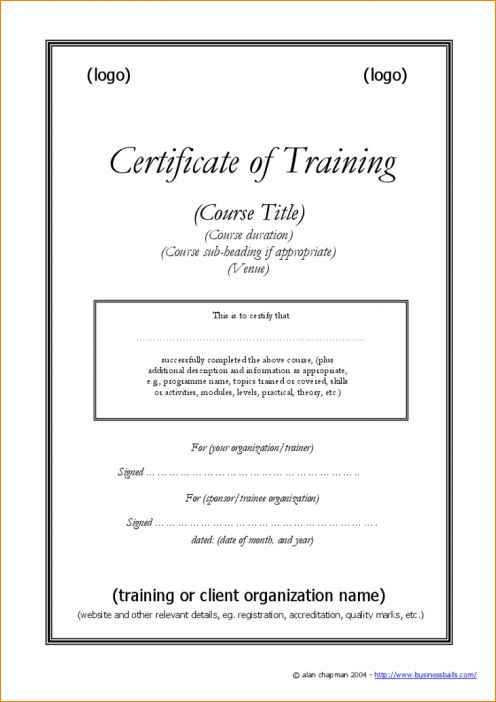 4+ training certificate template | Outline Templates