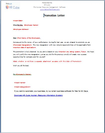 Promotion Letter – Download Template