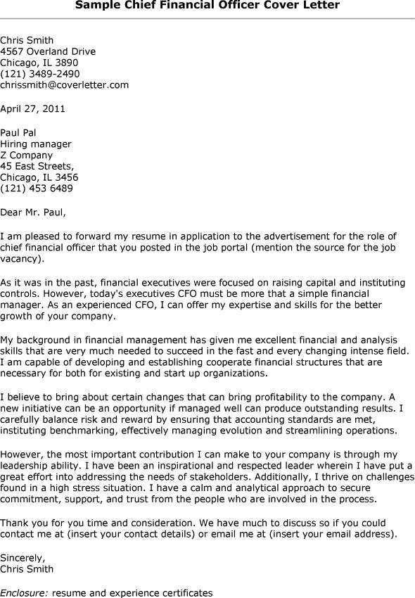 great cfo cover letters cover letter cfo resume format pdf how to - Financial Cover Letter