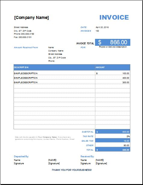 Advance Payment Invoice for EXCEL | EXCEL INVOICE TEMPLATES