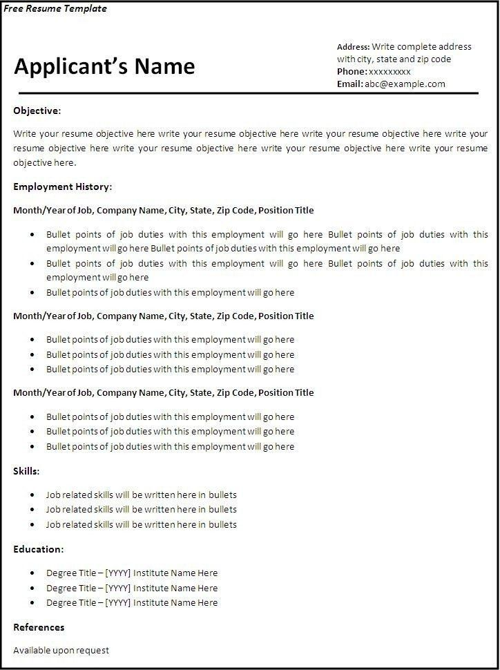 Free Templates For Resumes To Print - Best Resume Gallery