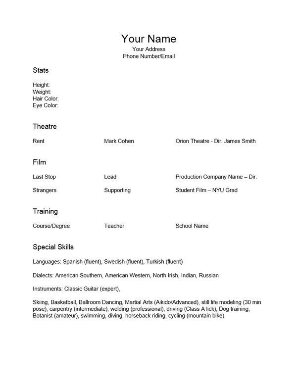 theatre resume template word download acting resume template pdf