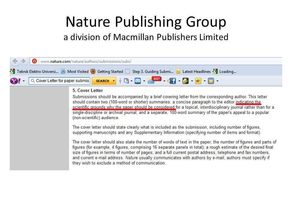 Examples Of Cover Letters For Scientific Manuscript Submitted To Nature. Scientific  Editor Cover Letter .